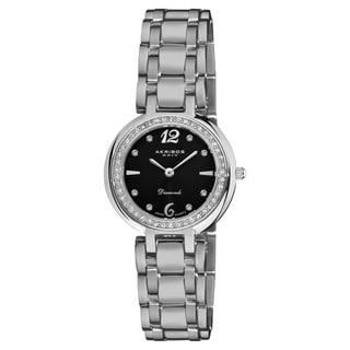 Akribos XXIV Women's Black-Dial Stainless Steel Diamond Bracelet Watch