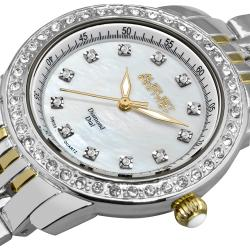 August Steiner Women's Diamond and Crystal Swiss Quartz Bracelet Watch with White Dial