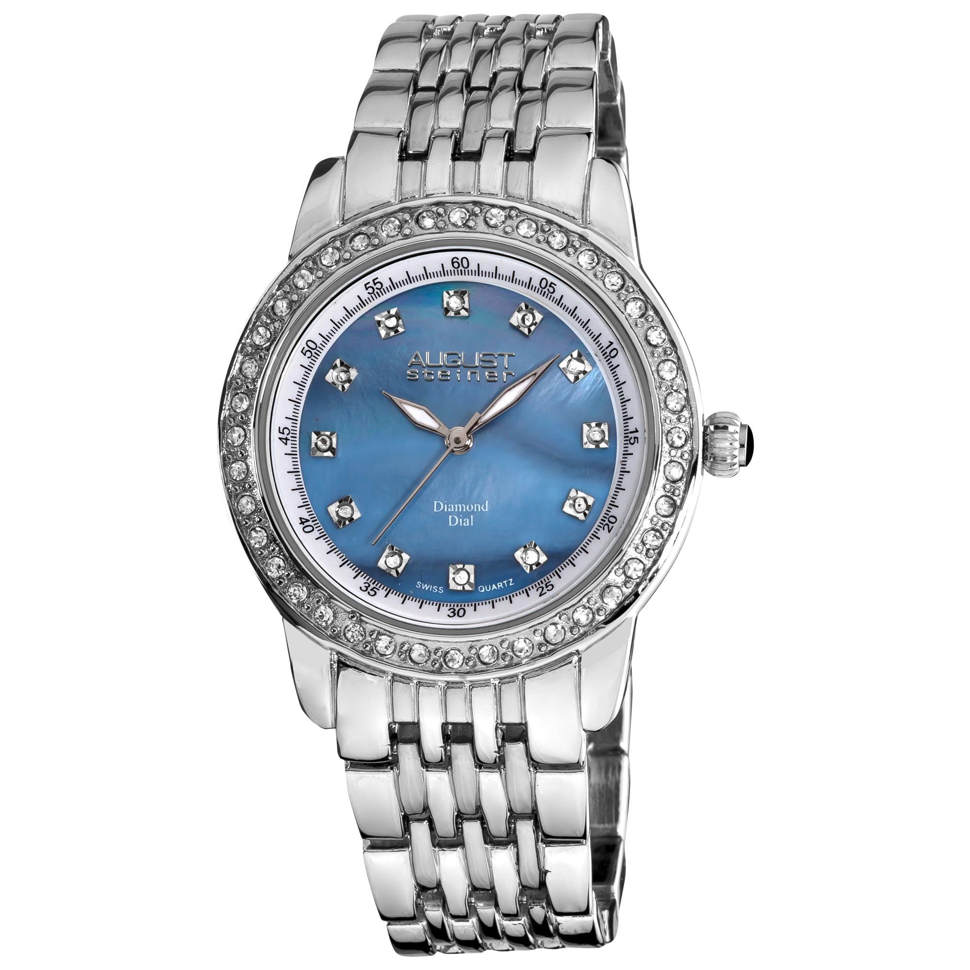 August Steiner Women's Diamond and Crystal Swiss Quartz Bracelet Watch