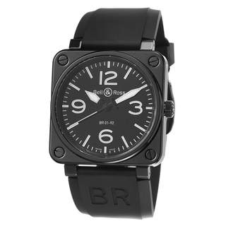 Bell & Ross Men's 'Avation' Black Dial Rubber Strap Ceramic Watch