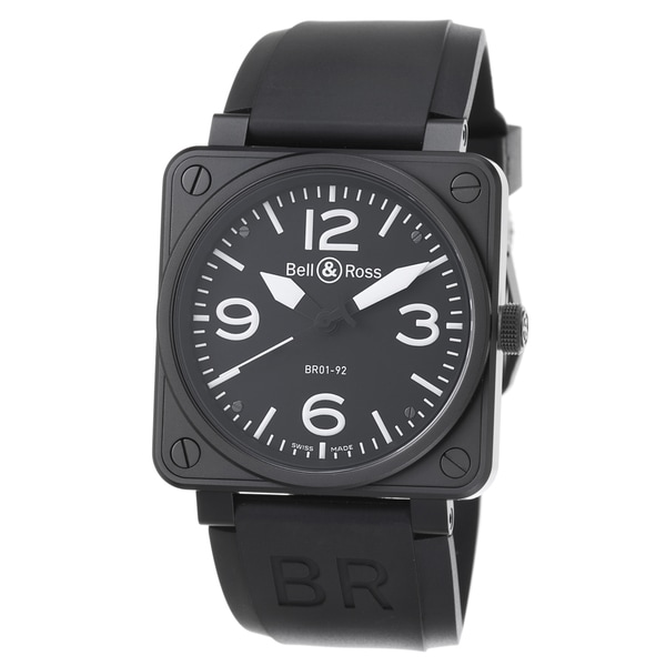 Bell & Ross Men's 'Avation' Black Dial Black Rubber Strap Watch