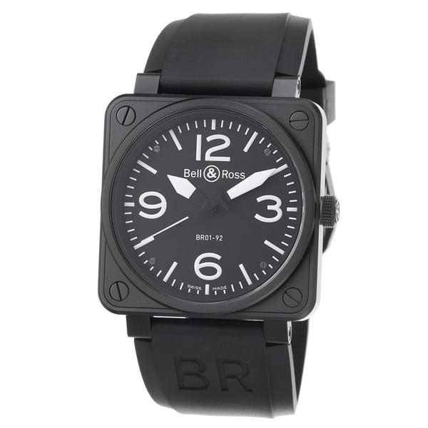 Bell & Ross Men's 'Avation' Black Dial Black Rubber Strap Watch