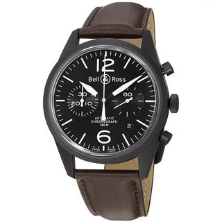 Bell & Ross Men's BR126-ORIGCARBO 'Vintage' Black Dial Brown Strap Chronograph Watch