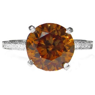 14k Natural Ceylon Zircon 5.1ct TGW Pave Diamond Ring