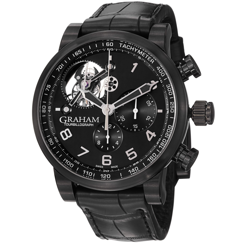 Graham Men's 2TSAB.B02A 'Silverstone' Black Dial Leather Strap Watch