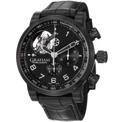 Graham Men's 'Silverstone' Black Dial Black Leather Strap Watch