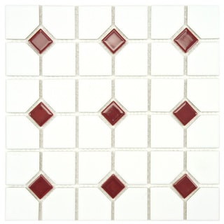 Somertile 11-1/2x11-1/2-in Cambridge Matte White with Maroon Dot Porcelain Tile (Case of 10)
