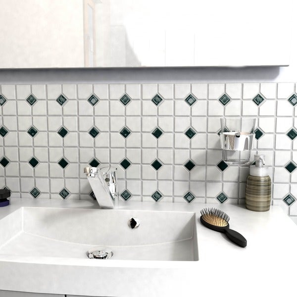 Somertile 11-1/2x11-1/2-in Cambridge Matte White with Green Dot Porcelain Tiles (Case of 10)