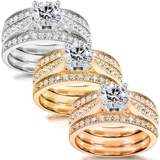 Annello 14k White Gold 1 1/2ct TDW Diamond 3-piece Bridal Ring Set (H-I, I1-I2)