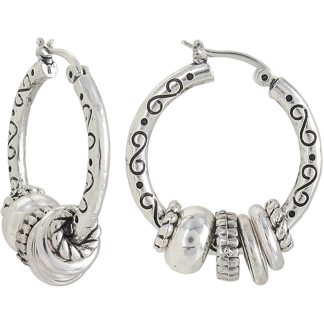 Roman Silvertone Artisan Antique Beaded Hoop Earrings