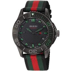Gucci Men's YA126229 'G-Timeless' Dive Black Dial Nylon Strap Watch