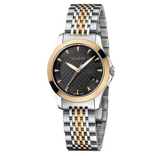 Gucci Women's 'Timeless' Black Dial Two Tone Bracelet Quartz Watch