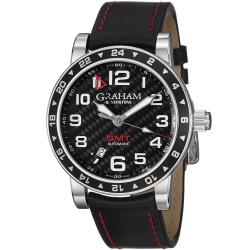 Graham Men's 'Silverstone' Black Carbon Dial Black Leather Strap Watch