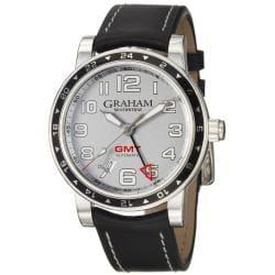 Graham Men's 'Silverstone' Silver Dial Black Leather Strap Watch