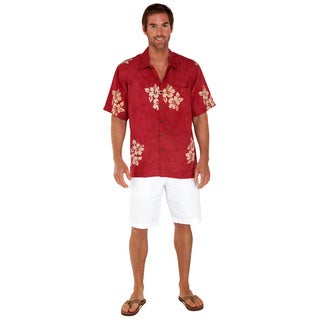 Men's Hibiscus Burgundy Hawaiian Aloha Shirt (Indonesia)