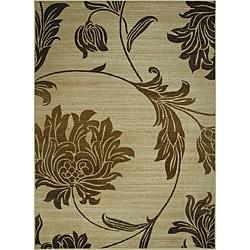 Avante Peony Bouquet Beige Rug (5' x 7')