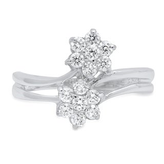 Roberto Martinez Sterling Silver Clear Cubic Zirconia Floral Ring