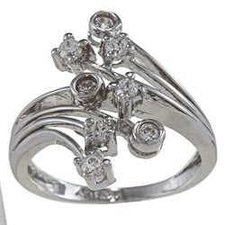 Sterling Essentials Sterling Silver Clear Cubic Zirconia Bypass Ring