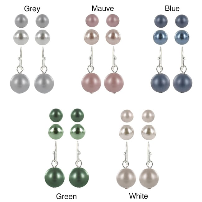 Roman Silvertone Faux Pearl 3-pair Stud and Dangle Earring Set