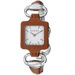 Gucci Women's '1921' Stainless Steel Brown Leather Bangle Watch