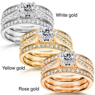 14k White Gold 1ct TDW Diamond 3-piece Bridal Ring Set (H-I, I1-I2)