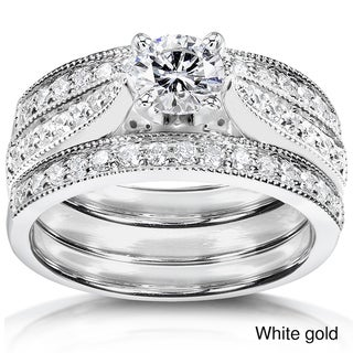 Annello 14k Gold 1ct TDW Diamond 3-piece Bridal Ring Set (H-I, I1-I2)