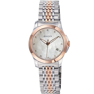 Gucci Women's 'Timeless' Mother of Pearl Dial Two Tone Quartz Watch