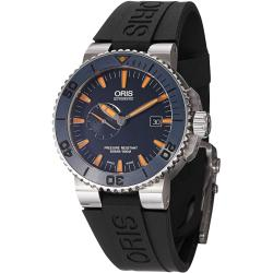 Oris Men's 01 643 7654 7185-Set RS 'Maldives' Blue Dial Black Rubber Strap Automatic Watch