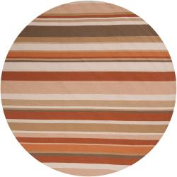 Hand-hooked Multicolored Rancie Indoor/Outdoor Stripe Rug (8' Round)