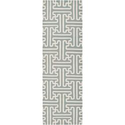 Smithsonian Hand-woven Gray Anchorage Wool Rug (2'6 x 8')
