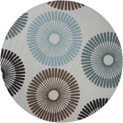Hand-Hooked Gray/Blue/Brown Rancie Indoor/Outdoor Geometric Rug (8' Round)