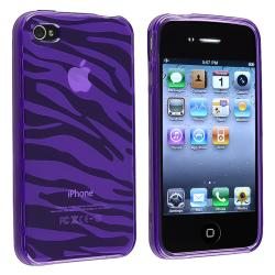 Purple Zebra TPU Rubber Skin Case for Apple iPhone 4/ 4S