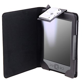 Black Synthetic-leather Case with LED Light for Amazon Kindle 4
