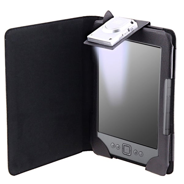 INSTEN Black Synthetic-leather Phone Case Cover with LED Light for Amazon Kindle 4