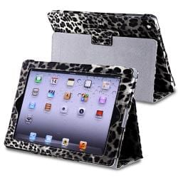 Black/ White Leopard Leather Case with Stand for Apple iPad 3/ 4