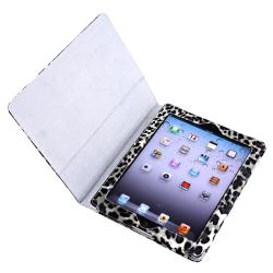Black/ White Leopard Leather Case with Stand for Apple iPad 3
