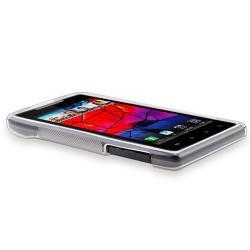 Clear White S Shape TPU Rubber Skin Case for Motorola Droid RAZR