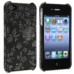 Black Embossed Flower Rear Snap-on Case for Apple iPhone 4/ 4S