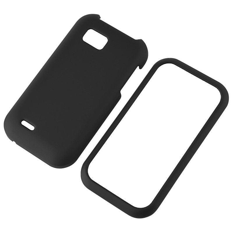 INSTEN Black Snap-on Rubber Coated Phone Case Cover for LG MyTouch Q
