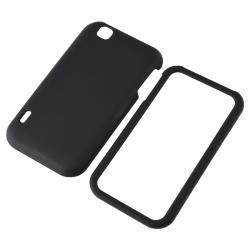Black Snap-on Rubber Coated Case for LG MyTouch