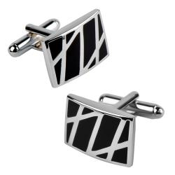 Rhodium-plated Black/Silver Enameled Formal Rectangle Cufflinks