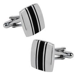 INSTEN Silver/ Black Square Cufflinks
