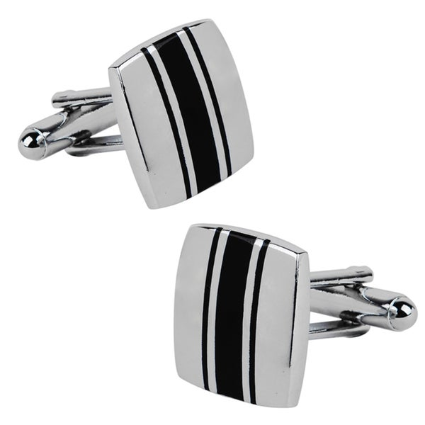 Zodaca Silver/ Black Square Cufflinks 9088549