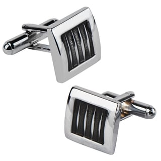 Zodaca Black/ Silver Square Cufflinks