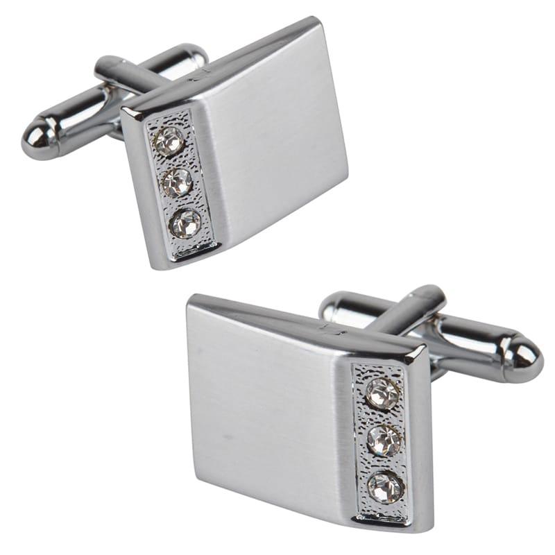 Zodaca Silver Rectangle with 3 Jewels Cufflinks