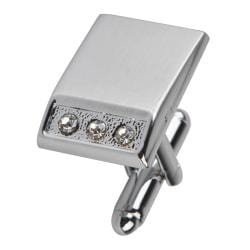 Silver Rectangle with 3 Jewels Cufflinks