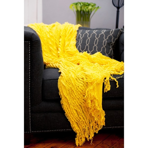 Charlotte Ruffled Yellow Throw