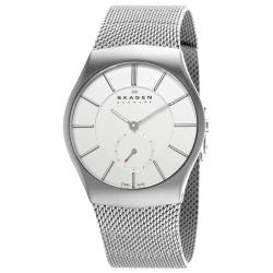Skagen Men's 'Steel' Silver Dial Stainless Steel Mesh Bracelet Watch