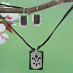 Handcrafted Two-Tone Pewter 'Fancy Fleur De Lis' Necklace & Earrings Set (India)