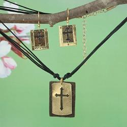 Handcrafted Gold Tone Pewter 'CutOut Cross' Dogtag Necklace & Earrings Set (India)